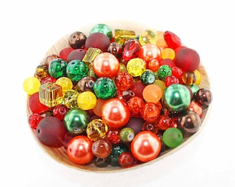Glass Bead Mix Assorted 25 Fall Color Combination 6mm to 12mm - BMX021