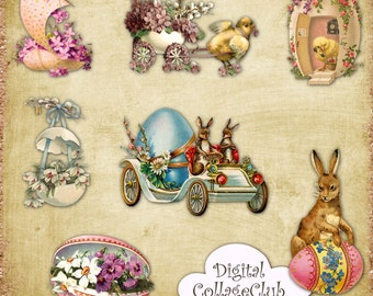 Vintage Easter Clip Art Clipart Easter Images for Scrapbooking, Card Making, Decoupage Paper. Digital Easter Download, Easter Bunny