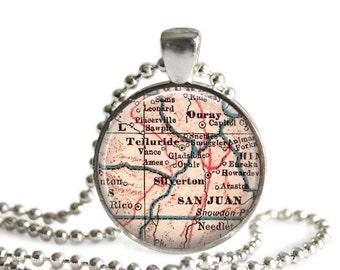 Telluride, Colorado map necklace charm, Colorado map jewelry, custom photo pendant, gift idea, mom's gift, nana gift, A166