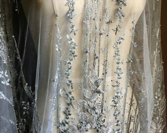 Silver Fabric Beaded and Embroidered for GRAD, Lyrical Dance, Ballet, Couture Gowns, Costume Design