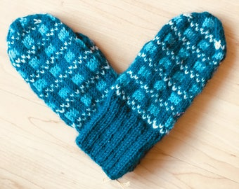 Hand-knit Scandinavian teal, blue and white mittens for child -- original design