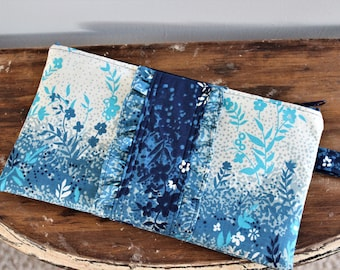 Upcycled Blue Floral Ruffled Zippered Clutch