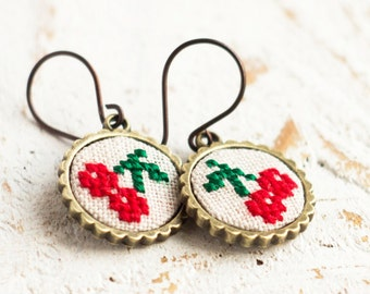 Cherry earrings, botanical jewelry, cross stitch dangle earrings e015