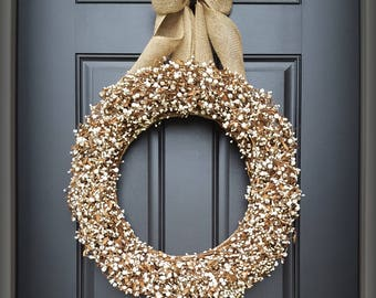 All Season Wreath.  Wedding Wreath.  Pip Berry Wreath.  CREAM Primitive Wreath.  Your All Season Wreath Awaits.