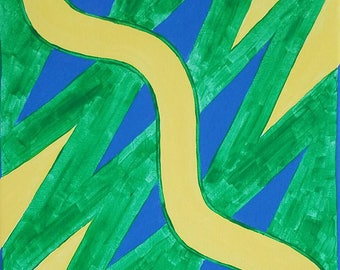 """Green, Yellow and Blue Original Acrylic Abstract Painting on Canvas """"Series 9 XXIV"""" Wall Art, Wall Hanging, Artwork, Unconventional, Modern"""