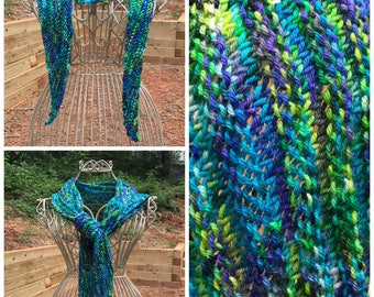 Hand Knit Wrapped in Jewels Shawl/Scarf