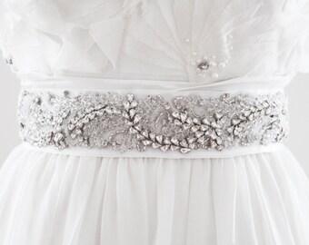KRISTIN - Rhinestone and Fabric Beaded Bridal Sash, Wedding Belt