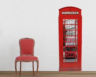 London, Phone Booth, London Phone Booth,  Red Phone Booth, Decal, British, Wall Art, Wall Decals, Wall Stickers, Gifts, Travel - SKU:LONDPHO