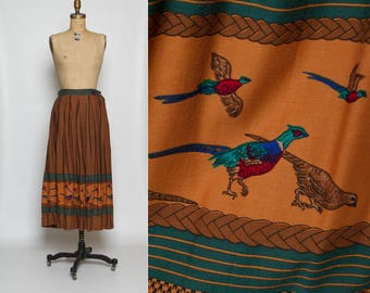 vintage 80s Diane Von Furstenberg pheasant print skirt | novelty print rayon midi DVF