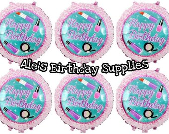 6 Pc Makeup Birthday Girl Balloons Party Supplies