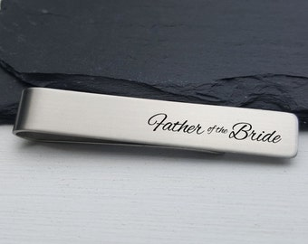 Father of the Bride Gift Personalized Tie Clip Custom Tie Bar Personalized Wedding Gift for Men Groomsmen Gift For Him Jewelry for Men 1