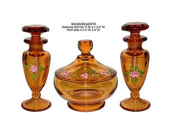 Cambridge Amber Vanity Set (#581 Puff Box & 2 #198 Cologne Bottles / Perfumes)