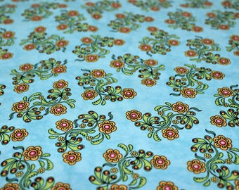 SEW CATTY Floral Coordinate Blue Fabric by Dan Morris for RJR Fabrics