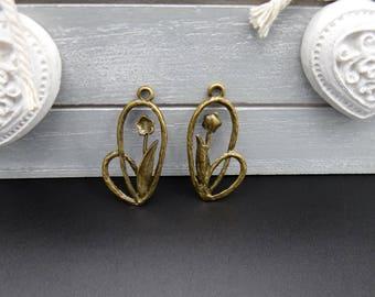 5 charms / pendants 31 x 16 mm bronze flowers
