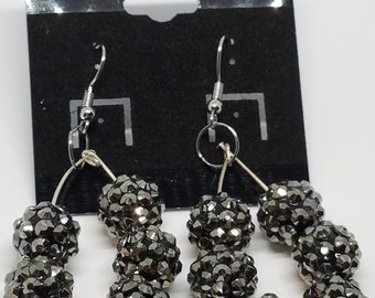Sparkling Black Beaded Hoop Earrings