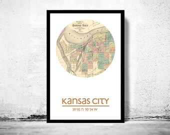 KANSAS CITY - city poster - city map poster print