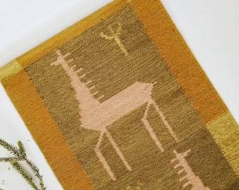 vintage woven wall hanging | horse wall tapestry fringe | boho home decor