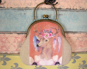 Vintage evening clutch purse with deer, kiss lock purse, metal frame purse, purse with handle