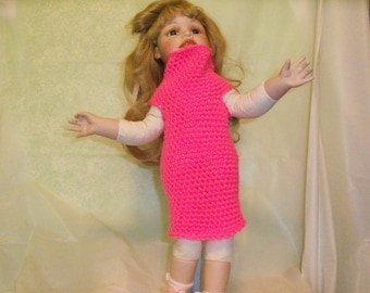 18 inch Doll Dress, Pink Doll Dress, Fits American Girl Doll Clothes, Doll Accessories Crochet 18 Inch Doll Dress