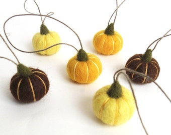 Miniature needle felted pumpkin ornament set - mustard, lemon yellow, brown Thanksgiving, autumn decor