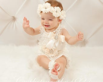 Baby Girl Outfits~Lace Romper~Baby Romper~Baby Clothes~Coming Home Outfit~Coming Home Outfit Newborn~First Birthday Outfit~Photo Prop