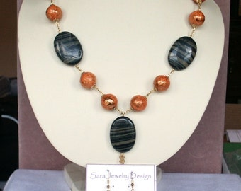 Demi Parure Necklace and Earring Set of Paper Mache Beads and Jasper Oval Beads