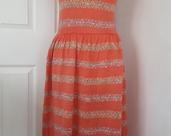 70s Knitted Dress / Vintage Sleeveless Dress / Coral Knitted Dress / Stripped Dress / Size small