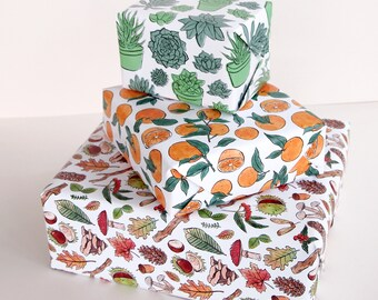 Wrapping Paper | 4 Designs | Woodland, Succulents, Oranges, Shoes