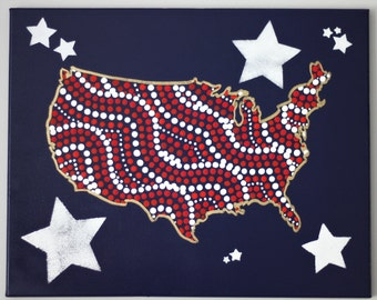 Stars and Dots Original Dot Art Painting - 16 x 20 inch canvas