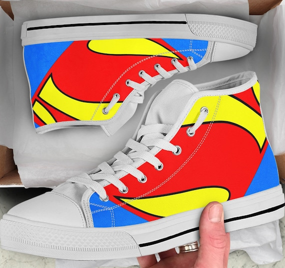 Top Superman Looks Superman Superman like Shoes sneakers high Converse Colorful Sneakers Shoes High Women's Shoes Men's Tops SwxqzAR