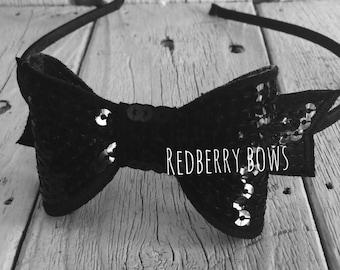 Alice in Wonderland Black Bow Headband