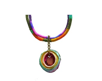 Polymer clay pendant, statement necklace