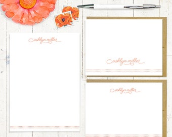 complete personalized stationery set - SCRIPT AND DOTS  - personalized stationary set - note cards - notepad - fun font