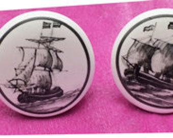 Sailing Ship Ceramic Knobs in Black and White