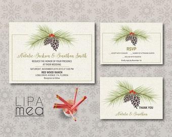 Winter Wedding Invitation Printable, Christmas Wedding Invitation, Pinecone Wedding Invitation Set, Printable Wedding Invitation