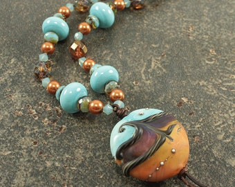 Bold Pendant Necklace One of a Kind Bohemian Beach Chic Jewelry Sand and Surf Gold Turquoise Topaz Necklace