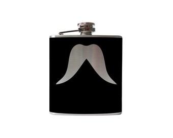 Mustache 03 Flask- alcohol, liquor, booze, wedding, bridal party, hip pocket- Personalized Custom - YOU pick COLOR
