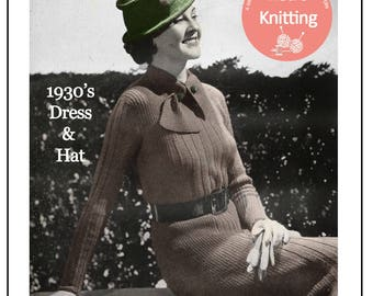 1930's  Dress and Hat Knitting Pattern - Instant Download - PDF Instant Download - PDF Knitting Pattern