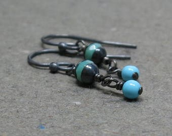 Turquoise, Chrysoprase Earrings Blue Green Gemstones Oxidized Sterling Silver Dangle Gift for Her Gift for Girlfriend