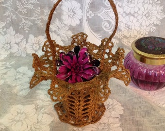 Crochet doily basket gold cotton thread molded sugared starched frilly lacey ruffled romantic cottage chic wedding home decor