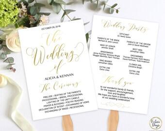 Gold Wedding Fan Program Template, DIY Wedding Program Printable, Wedding Program Editable, Ceremony Printable, PDF Instant Download GW180