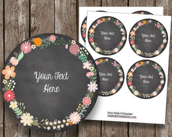 50% OFF SALE - Editable Chalkboard Labels - Notes - Cards - Floral - Watercolor - Thank You - Organizing - Pantry - Instant Download