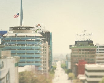 Hollywood photography, Capitol Records photo, Los Angeles decor, Hollywood Blvd, white decor, cityscape music, travel photograph Myan Soffia