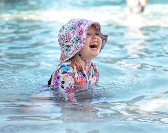 kids summer hat,girls bucket hat,swim hats,girls beach hat,floral swimwear,girls birthday gift,kids sun hats,kids swimwear,kids swim hats
