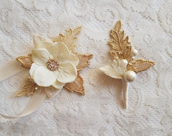 Small Prom Gold & Ivory Gatsby Wrist Corsage and Boutonniere