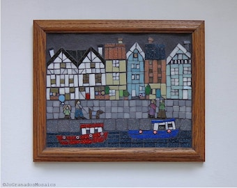 Mosaic Wall Art, Seaside Town Picture, Traditional Houses and Cobbled Street, Original Artwork, Folk Art, Glass Art (about 10 x 12 inches)