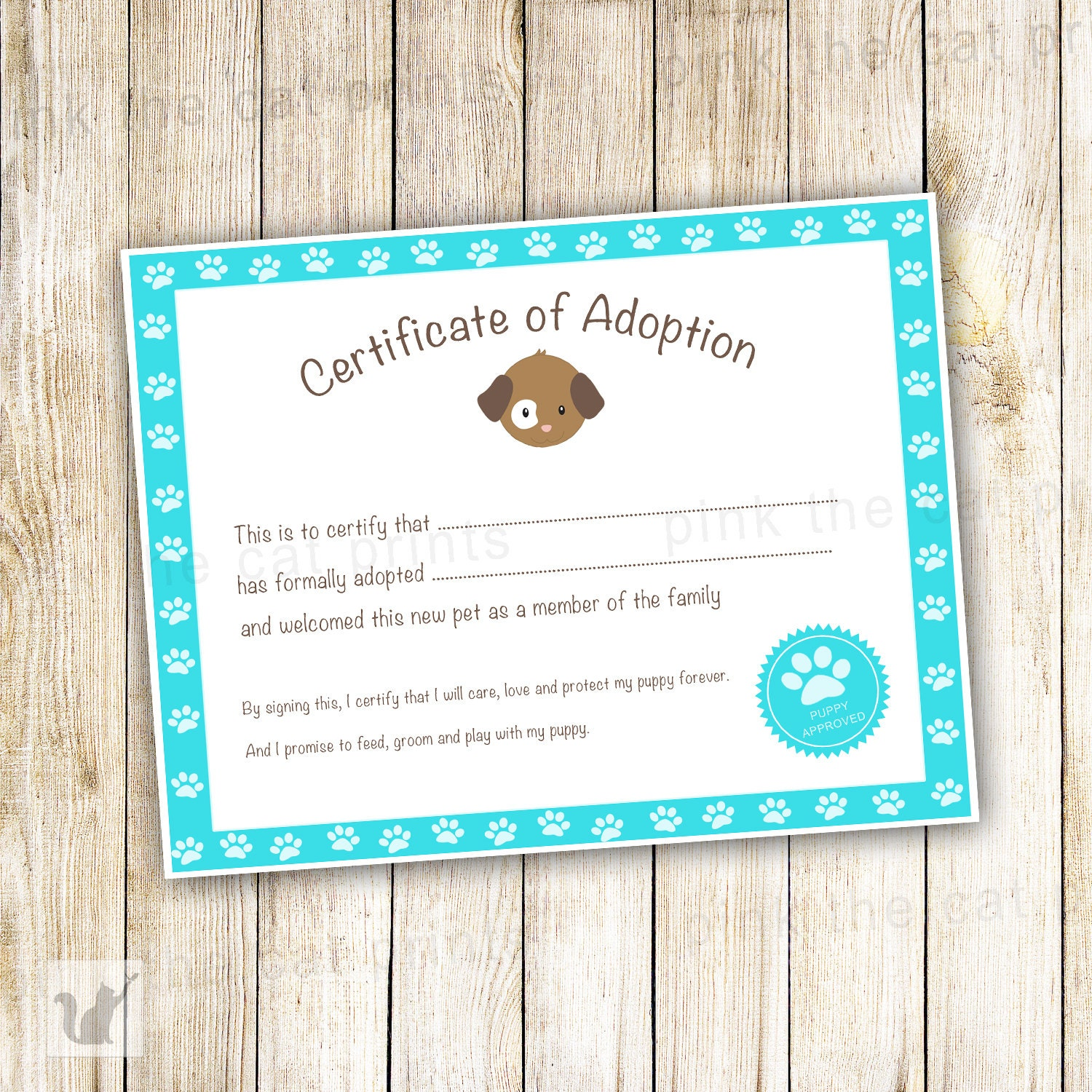 Certificate of adoption puppy birthday party favor kids zoom xflitez Gallery