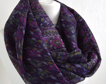 Navy Cerise Abstract Pure Silk Sari Infinity - Nursing Cover - Eternity Scarf - Unique Gift - Loop Scarf - Pure Silk Scarf - CMCNCP0452