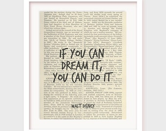 Walt Disney Quote, If you can dream it you can do it, Inspirational Quote Print, Motivational Quote Printable Art, Instant Download Poster