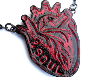Red and Black Anatomical Heart Necklace, Heart and Soul Necklace,  Valentine's Day Gift, Inspirational Necklace, Wife Gift,  Girlfriend Gift
